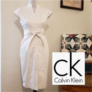 Calvin Klein Button Front Sheath Dress Tie Belt